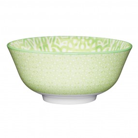 KitchenCraft Green & White Tile Effect Ceramic Bowl