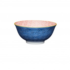 KitchenCraft Blue & Red Arched Geo Pattern, Ceramic Bowl