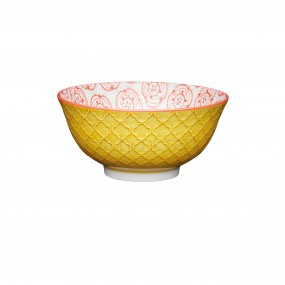 KitchenCraft Yellow Floral Emboss Ceramic Bowl