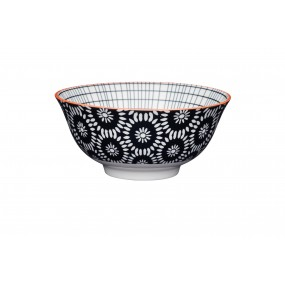 Kitchen Craft Black Swirl Floral Bowl 15.7cm