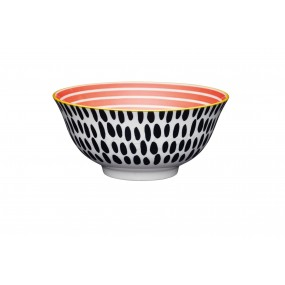 KitchenCraft Red Swirl & Black Spots Ceramic Bowl 15.7cm