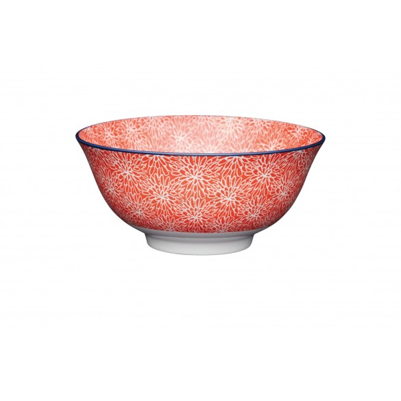 KitchenCraft Red Floral and Blue Edge Ceramic Bowl 15.7cm