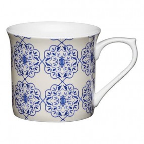 KitchenCraft Fine Bone China 300ml Fluted Mug, Blue Filigree Mugs & Cups