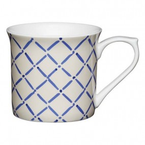 KitchenCraft Fine Bone China 300ml Fluted Mug, Blue Crosshatch Mugs & Cups