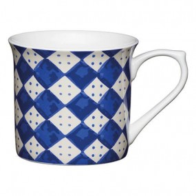 KitchenCraft Fine Bone China 300ml Fluted Mug, Blue Diamonds Mugs & Cups