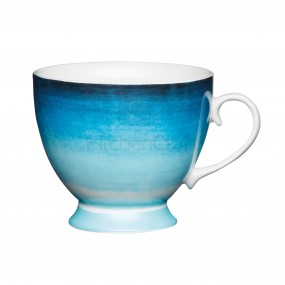 KitchenCraft Footed Mug Blue Ombre Stripe