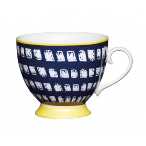 KitchenCraft Footed Mug, Navy Square 400ml