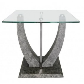 Leo End Table Grey & Steel Glass Top