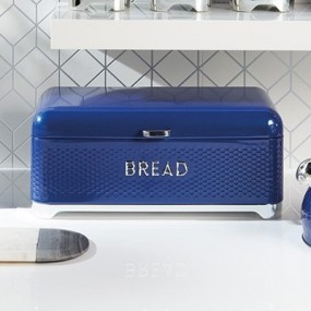 Lovello Textured Bread Bin - Midnight Blue Kitchen Storage