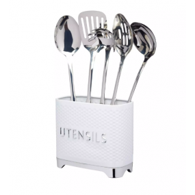 Lovello Textured Utensil Holder - Ice White Kitchen Accessories