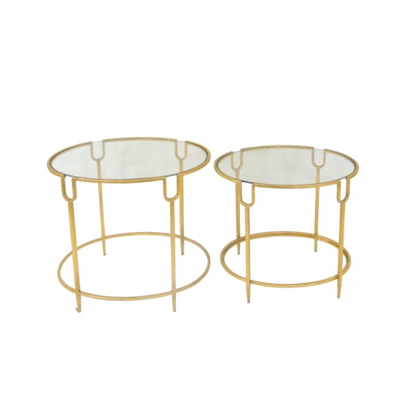 Deesen Set of 2 Metal Oval Tables - Gold