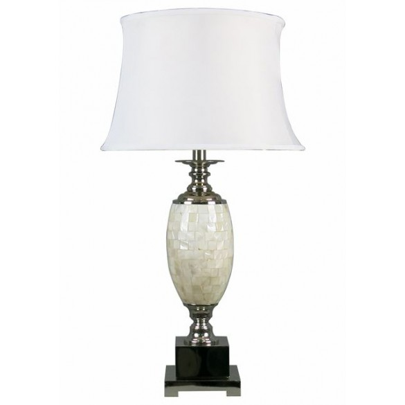 Macquillan Tishan Table Lamp Silver Metal Oyster