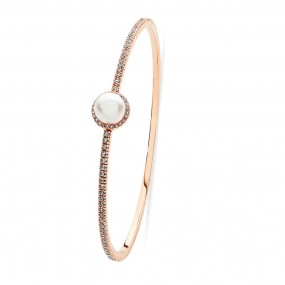 Tipperary Crystal ROSE GOLD CZ BANGLE WITH PEARL Jewellery / Watches
