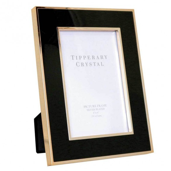 "Tipperary Crystal Black Enamel Frame Gold Edging 4""x6"" Photo Frames"