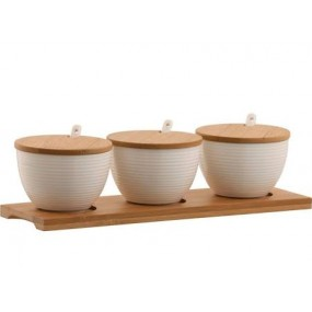 Belleek Ripple Three Bowls Set With Tray Kitchenware
