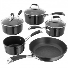 Stellar 3000 5 Piece Saucepan Set, Black