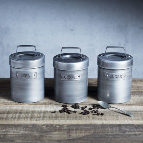 Industrial Kitchen Vintage Style Tea, Coffee & Sugar Canisters Steel Grey Kitchen Storage