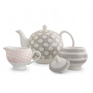 Tipperary Crystal Spots & Stripes Teapot, Sugar & Creamer Set Mugs & Cups