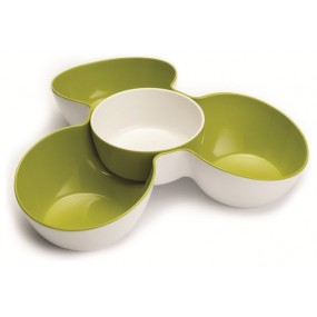 Triple Dish Set - White / Green Serving Bowls