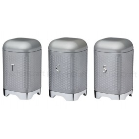 Lovello Retro Tea, Coffee, Sugar Canisters- Shadow Grey Kitchen Storage