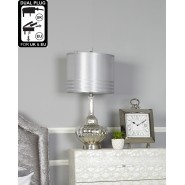 Glass Silver Table Lamp 73.5cm