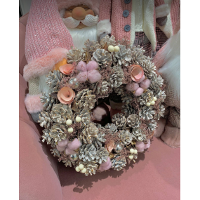 Pink & White Christmas Wreath with Pine Cones