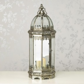 Octagon Lantern 60cm Antique Silver